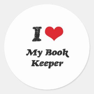 Corazón I mi encargado de libro Etiquetas Redondas