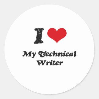 Corazón I mi escritor técnico Etiqueta Redonda