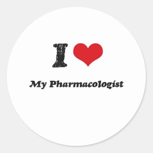 Corazón I mi farmacólogo Etiquetas Redondas