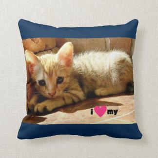 Corazón I mi gato Cojín