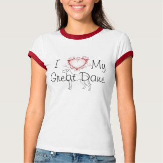 Corazón I mi great dane Playera