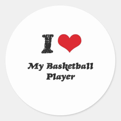 Corazón I mi jugador de básquet Etiqueta Redonda