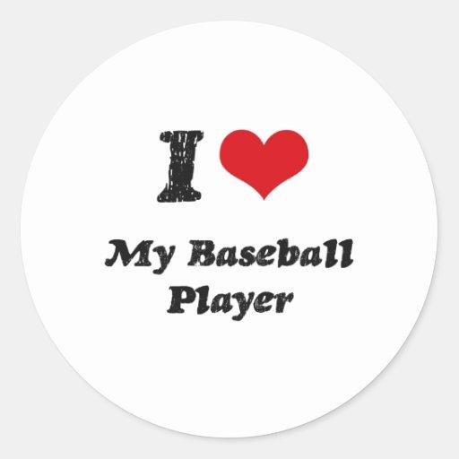 Corazón I mi jugador de béisbol Pegatinas Redondas
