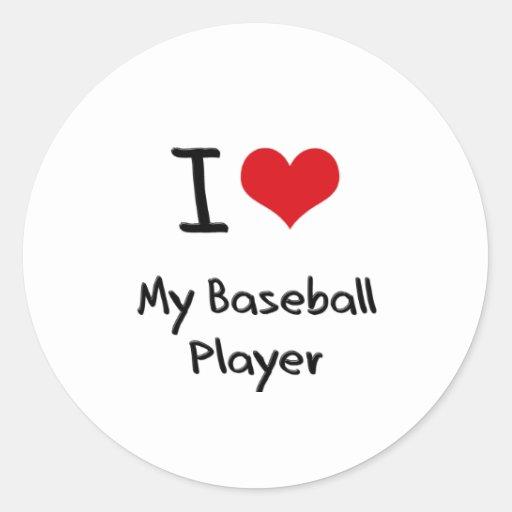 Corazón I mi jugador de béisbol Pegatina Redonda