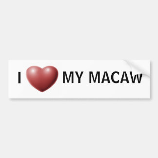 Corazón I mi macaw Pegatina Para Auto
