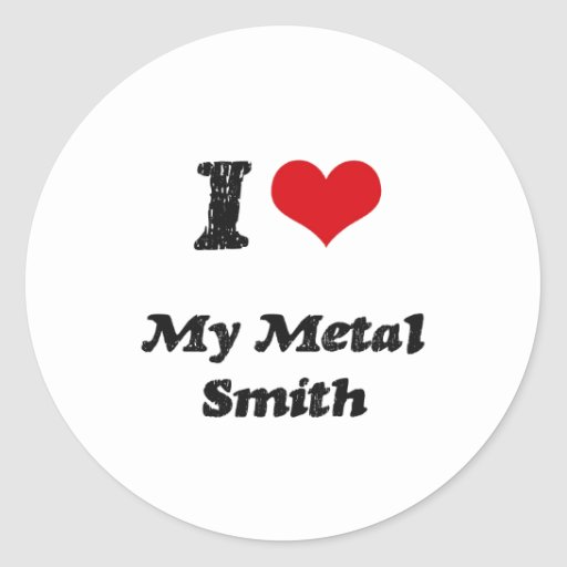 Corazón I mi metal Smith Pegatina Redonda