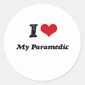 Corazón I mi paramédico Pegatina Redonda
