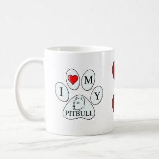 Corazón I mi pata del pitbull - perro, mascota, Taza Clásica