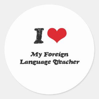 Corazón I mi profesor del idioma extranjero Etiqueta