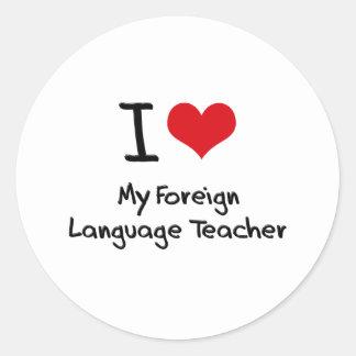 Corazón I mi profesor del idioma extranjero Etiquetas Redondas