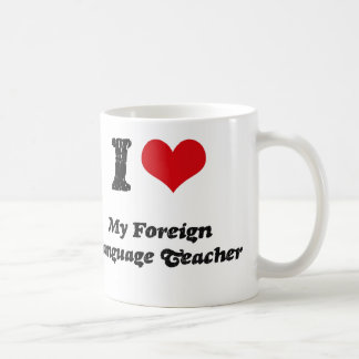 Corazón I mi profesor del idioma extranjero Taza De Café