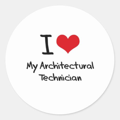 Corazón I mi técnico arquitectónico Pegatina Redonda