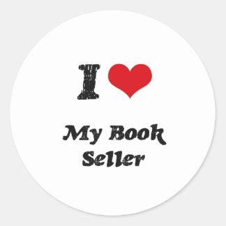 Corazón I mi vendedor de libro Pegatinas Redondas