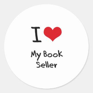Corazón I mi vendedor de libro Etiquetas Redondas