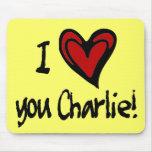 Corazón I usted Charlie Alfombrillas De Ratón