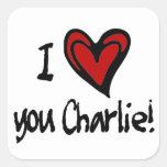 Corazón I usted Charlie Pegatina Cuadrada