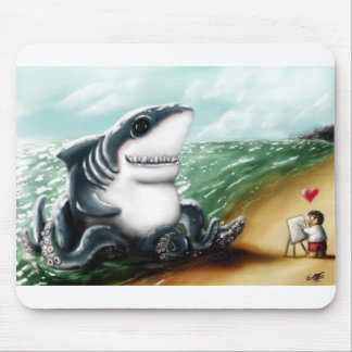 Corazón I usted Sharktopus Mouse Pad
