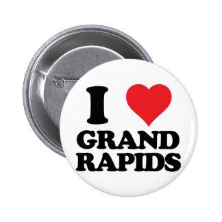 corazón i y amor Grand Rapids, Michigan Pin Redondo De 2 Pulgadas