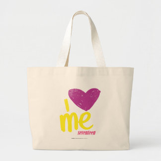 Corazón I yo púrpura/amarillo Bolsa Tela Grande