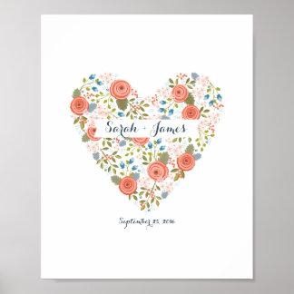 Corazón ideal floral precioso personalizado póster