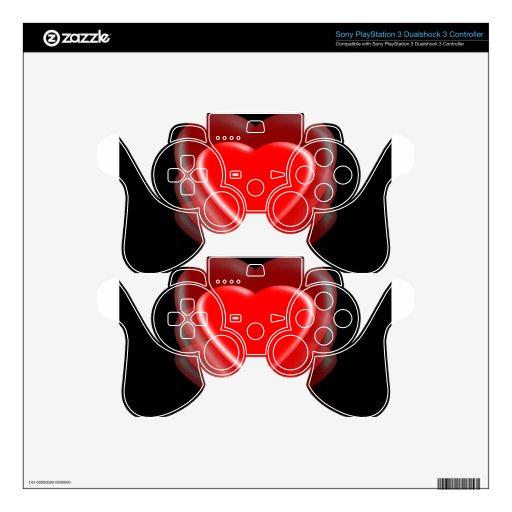 Corazón-Iluminación roja Mando PS3 Skins