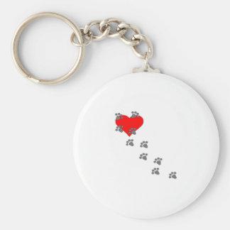 Corazón (impresiones de la pata) llaveros personalizados