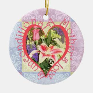 Corazón incondicional del amor adorno navideño redondo de cerámica