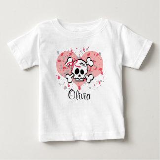 Corazón infantil personalizado del arco del rosa playera para bebé