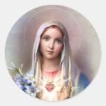 Corazón inmaculado de Maria Pegatina Redonda