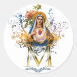Corazón inmaculado de Maria Pegatinas Redondas