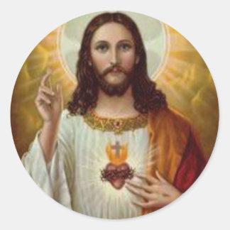 Corazón inmaculado del Jesucristo santo nuestro Pegatina Redonda