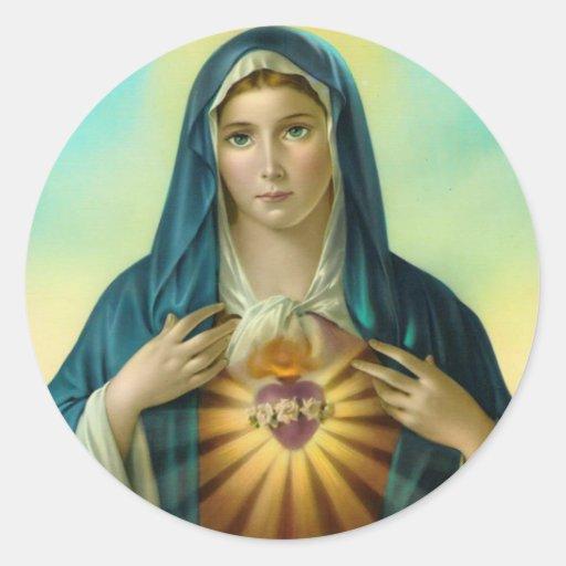 Corazón inmaculado del pegatina redondo 1 de Maria