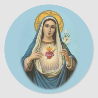 Corazón inmaculado del pegatina redondo de Maria