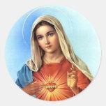 Corazón inmaculado Maria Pegatina Redonda