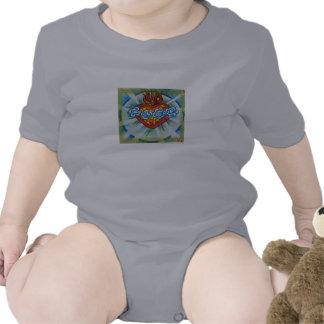 Corazón inmaculado sagrado del desgaste del bebé d camiseta