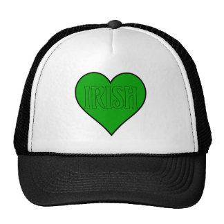 corazón irlandés verde gorro de camionero