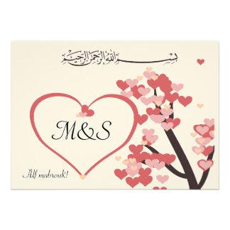 Corazón islámico del árbol de amor de la enhorabue