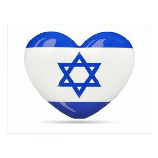 Corazón israelí de la bandera postal