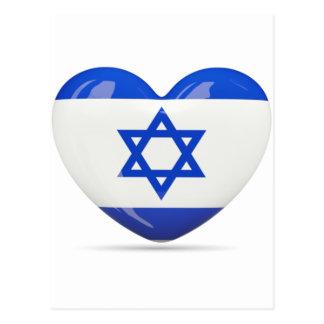 Corazón israelí de la bandera tarjeta postal