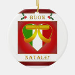 Corazón italiano de la bandera de Buon Natale - or Ornamento De Navidad