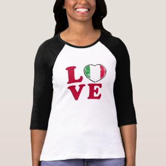 Corazón italiano de la bandera del amor camiseta
