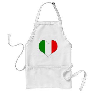 Corazón italiano de la bandera delantal