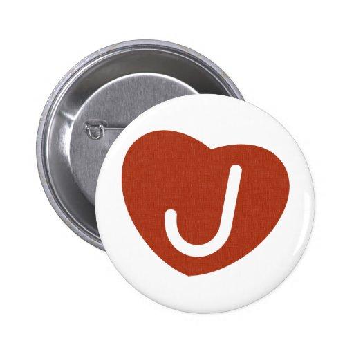 Corazón J del monograma Pin