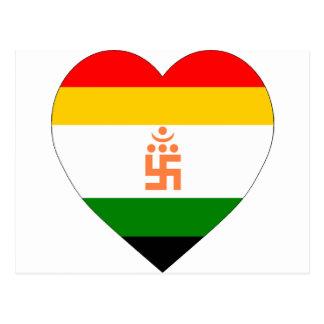 Corazón Jain de la bandera Tarjeta Postal