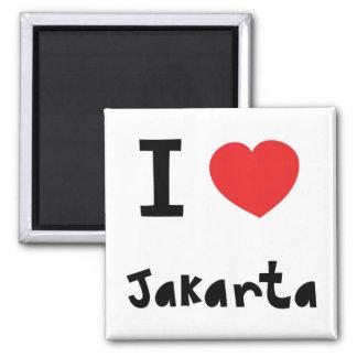 Corazón Jakarta Imán Cuadrado
