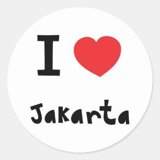 Corazón Jakarta Pegatina Redonda