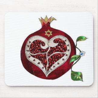 Corazón Jánuca Rosh Hashanah de la granada de Juda Alfombrillas De Ratones