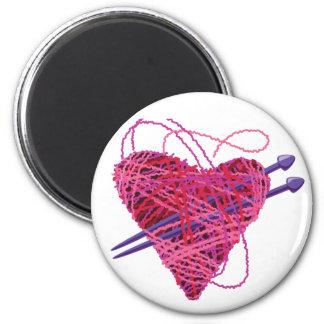 corazón kniting imán para frigorífico