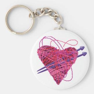 corazón kniting llavero redondo tipo pin