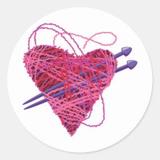 corazón kniting etiquetas redondas